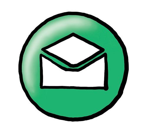 Das Bild zeigt einen grünen Kreis. Auf dem Kreis ist ein Briefumschlag zu sehen.