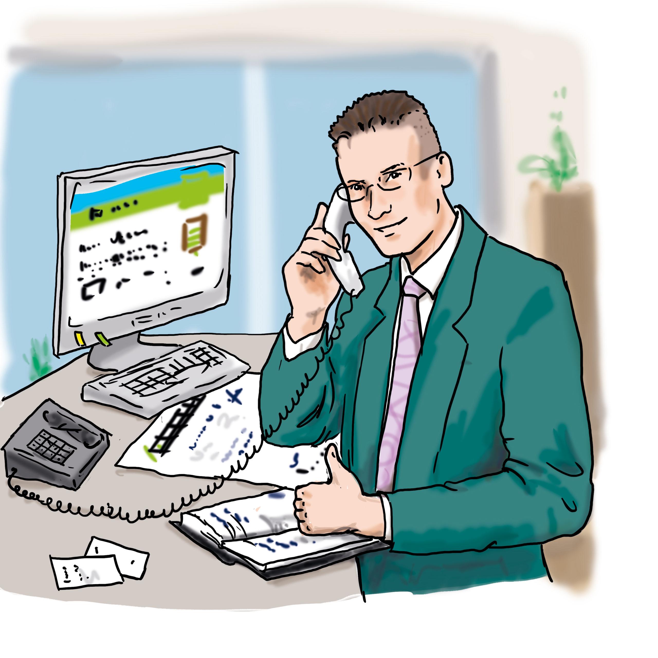 Das Bild zeigt einen Mann. Der Mann sitzt an einem Schreibtisch und telefoniert.