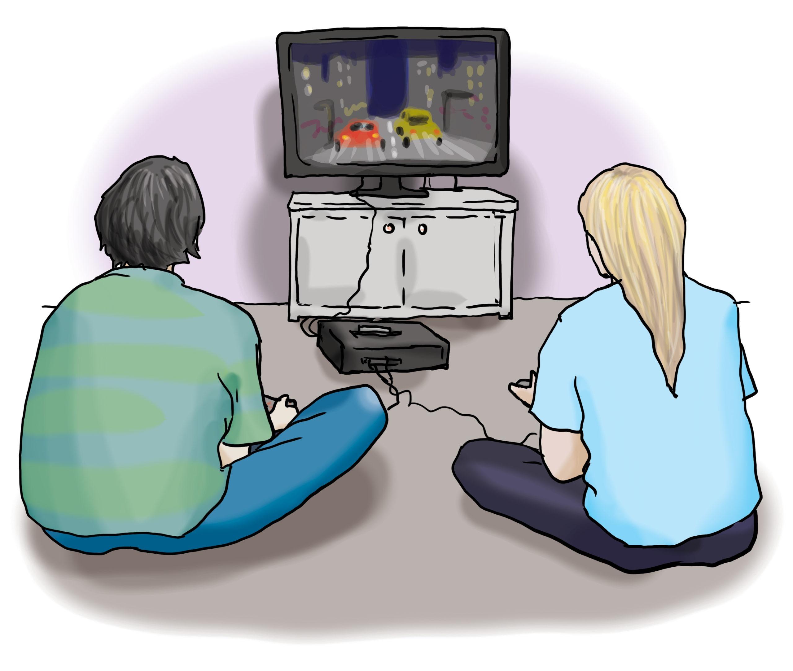 Das Bild zeigt zwei Personen, die an einer Spielekonsole spielen.