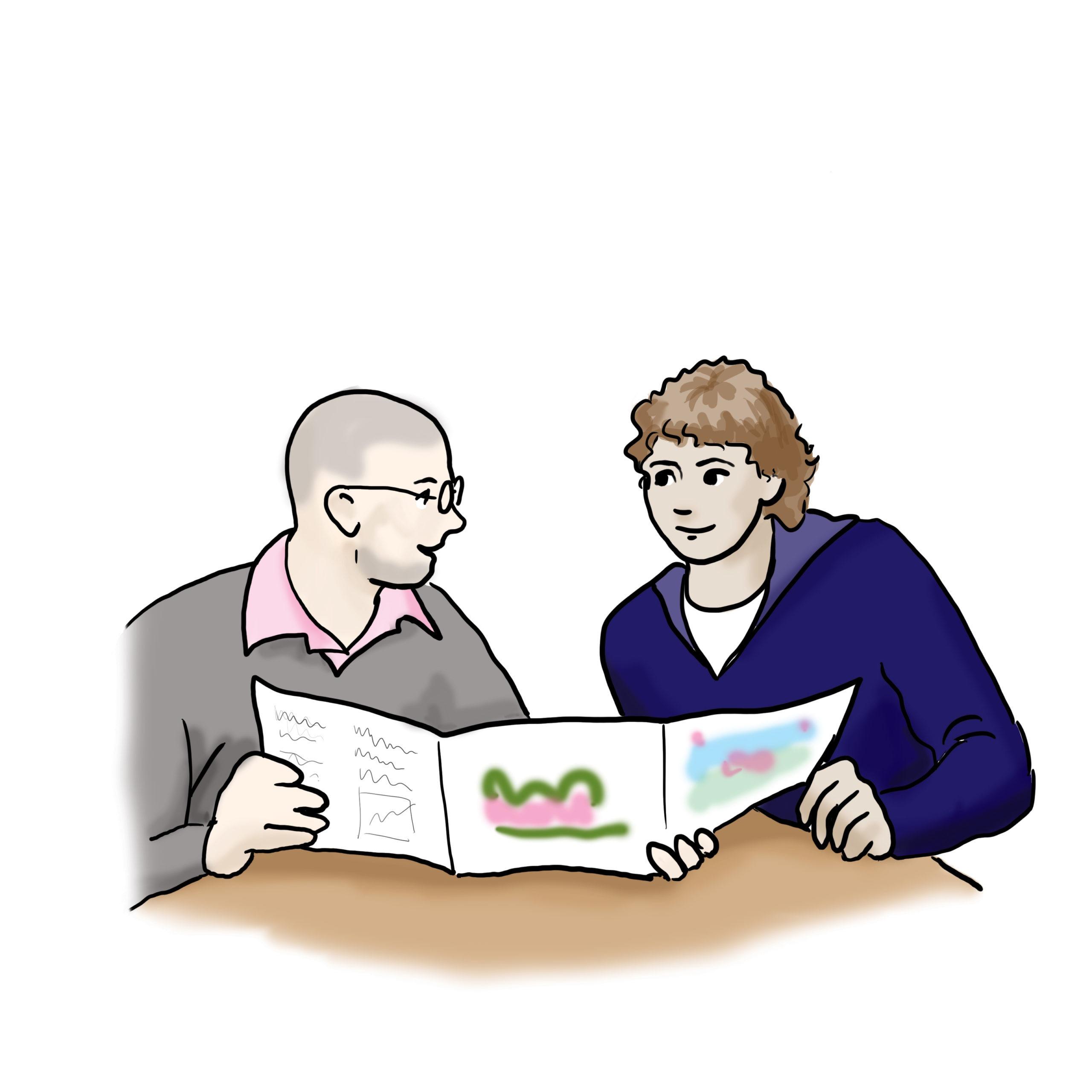Das Bild zeigt zwei Menschen. Sie schauen gemeinsam in ein Magazin.