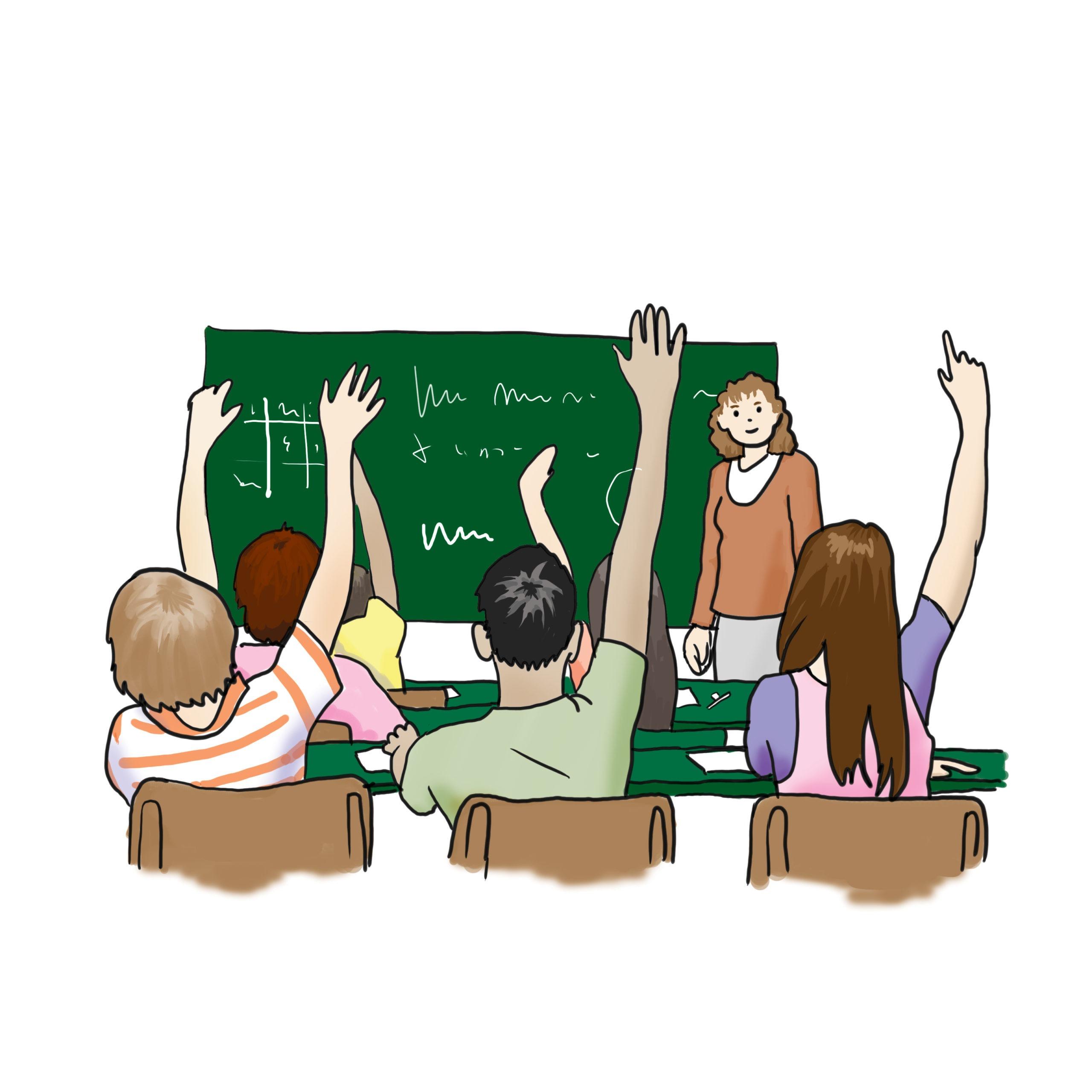 Das Bild zeigt eine Schulklasse im Klassenraum.
