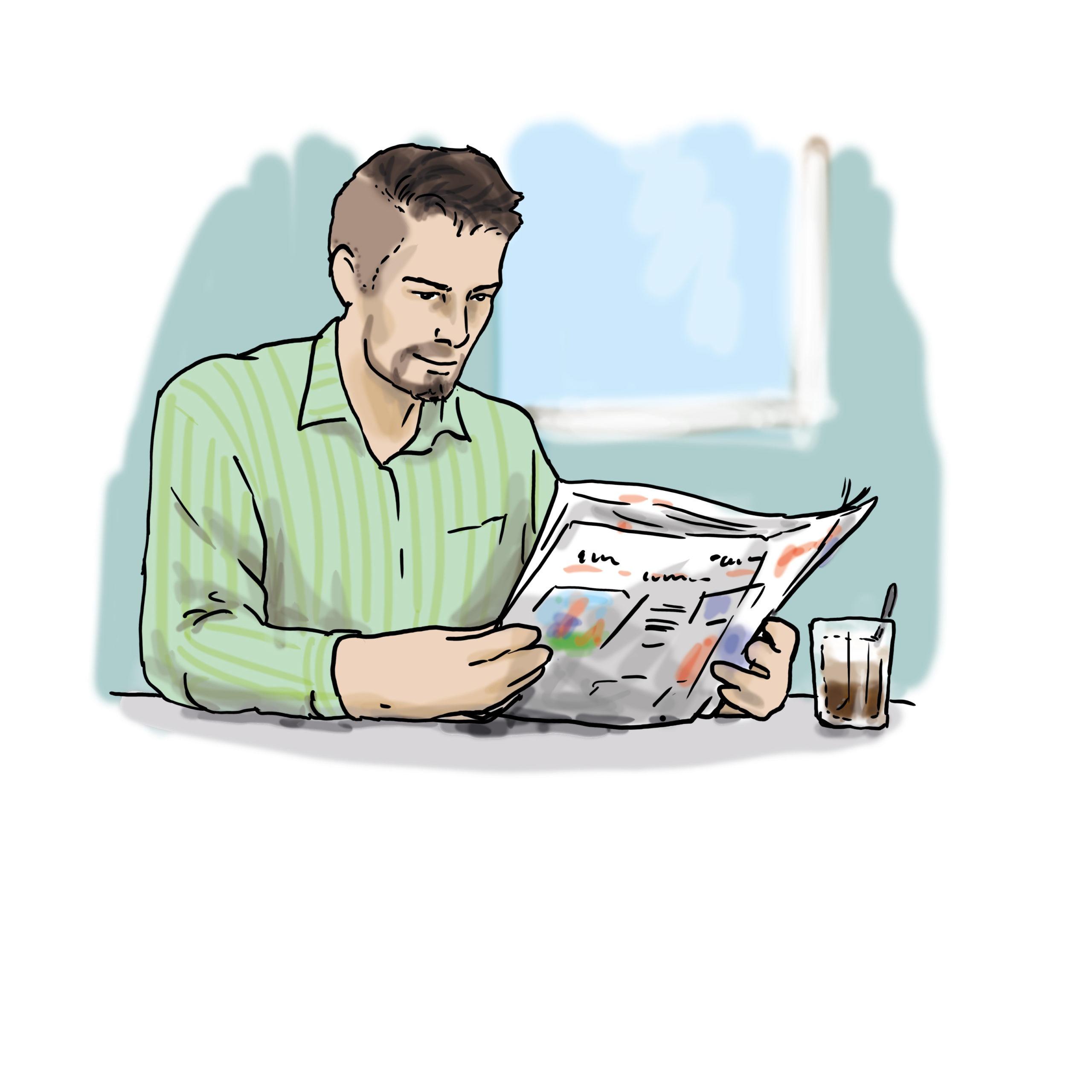 Das Bild zeigt einen Mann, der Zeitung liest.