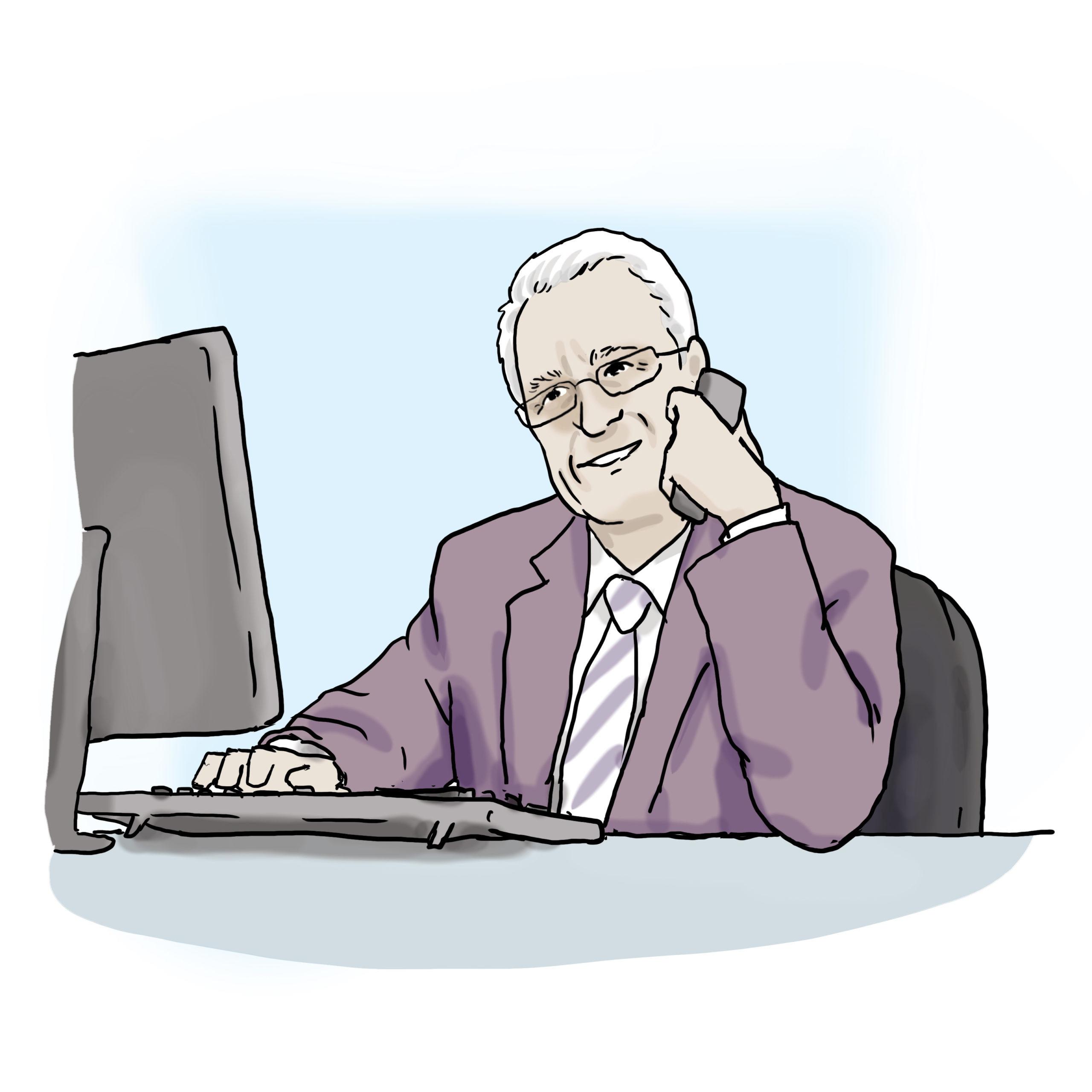 Das Bild zeigt einen Mann, der telefoniert.