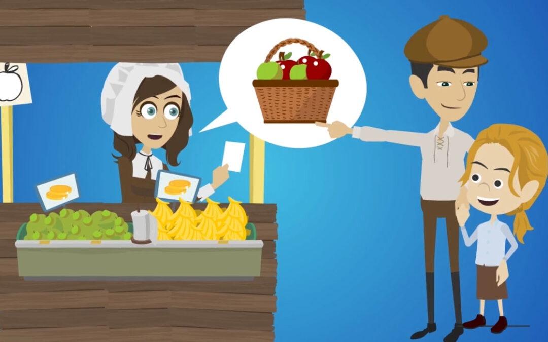 Das Animationsbild zeigt eine Marktscheier*inn im Mittelalter.