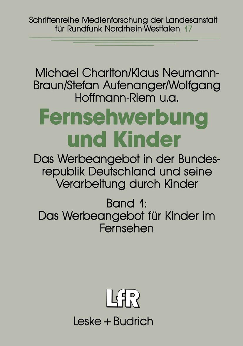 """Das Foto zeigt das Cover des Buches """"Fernsehwerbung und Kinder""""."""