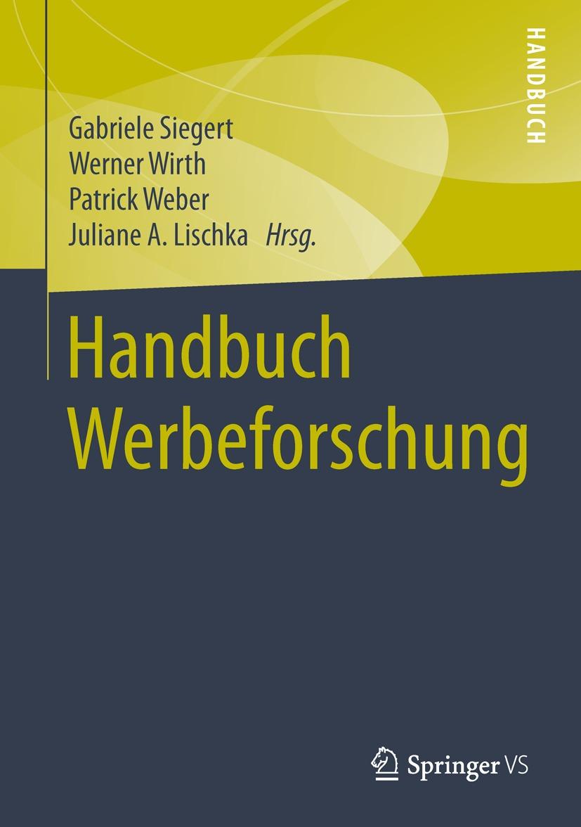 """Das Foto zeigt das Cover des Buches """"Handbuch Werbeforschung""""."""