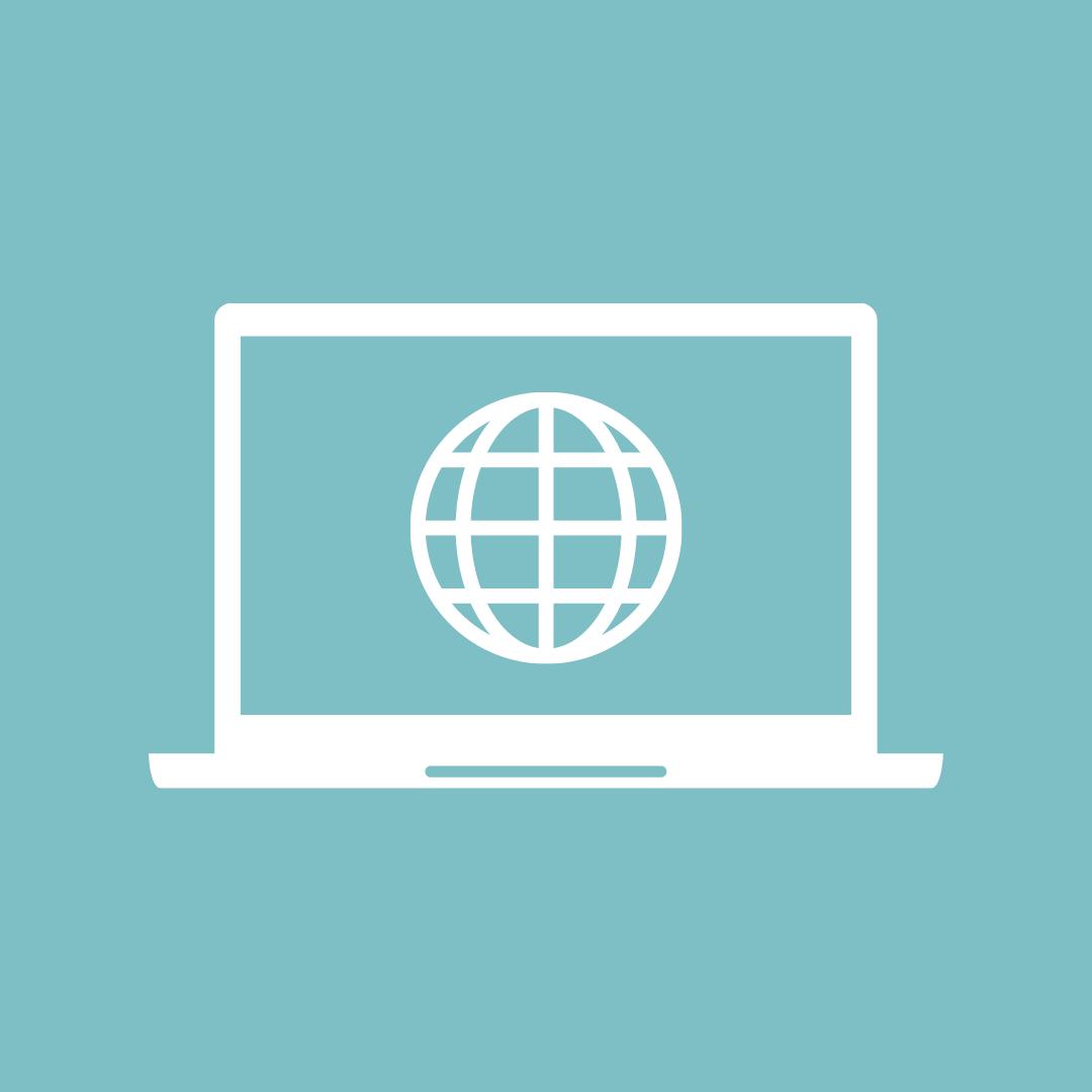 Icon: Das Bild zeigt einen Laptop mit Weltkugel.