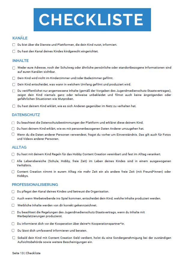 Auf dieser Seite ist eine Checkliste zu sehen. Diese richtet sich an Eltern.